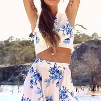 V-Neck Floral Printed Two Piece Dress
