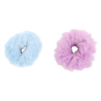 Pastel Fuzzy Scrunchie Set