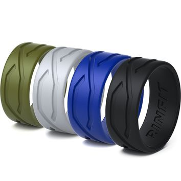 Silicone Wedding Ring / Band for Men - 4 Rings Pack- Designed Medical Grade Silicone Rubber Rings - Black, Green, Blue ,Gray - With a Gift Box