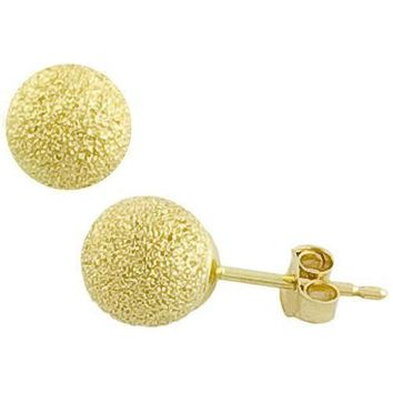 14k Yellow Solid Gold Laser Cut Ball Stud Earrings All Sizes