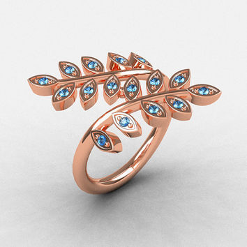 14K Rose Gold Aquamarine Leaf and Vine Wedding Ring, Engagement Ring NN112-14KRGAQ