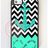 Custom Mint Black Chevron Anchor iPhone Case - Hybrid Dual Layer iPhone 5 Case