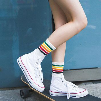 Rainbow stripes creative cotton Running Stocks Sport Football Soccer Long Socks Knee High Sock For Women Hot