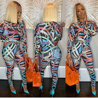 Versace fashion women top shirt + pants two piece suit
