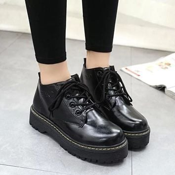 Fashion Online Hot Deal On Sale Thick Crust Platform Shoes England Style Vintage Shoes Round-toe Dr. Martens Boots [9013546436]
