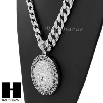 Hip Hop White Gold Plated Medusa Medallion Pendant 30' Iced Out Cuban Link Chain