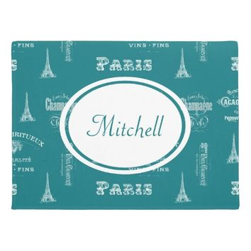 Paris Label French Teal Personalized Doormat