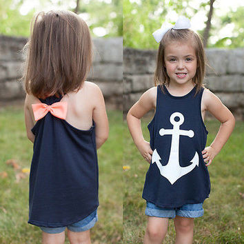 Toddler Kids Baby Girls Summer T-shirt Vest Casual Anchor sleeveless T Shirts Beach Tops 2-7Y