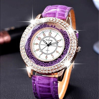 Quicksand Rhinestone Grass Crack Leather Watch [9325199364]