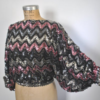 Sequin Shirt Top / Batwing dolman sleeves / S-M