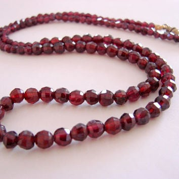 Vintage Natural Faceted Garnet Bead Necklace * Wedding * Bridal * Jewelry * Jewellery