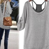 Trendy Cotton Gray Shirt and Black Tanks