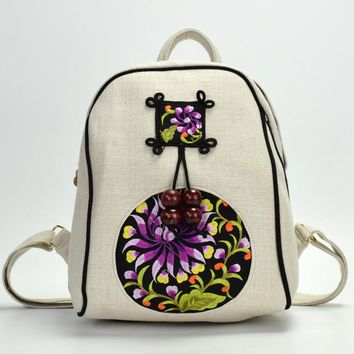 Student Backpack Children JIANXIU 2018 New National Girl Backpack Linen Soft Embroidery Hand Knit Bag Fashion Special Backpack For Young Students Backpack AT_49_3