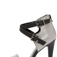 Latest and Greatest Black and White Reptile Ankle Strap Heels