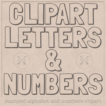 Stamped Alphabet Clipart Letters and Numbers. Perfect for invitations and card making digital scrapbooking graphic logo design etc