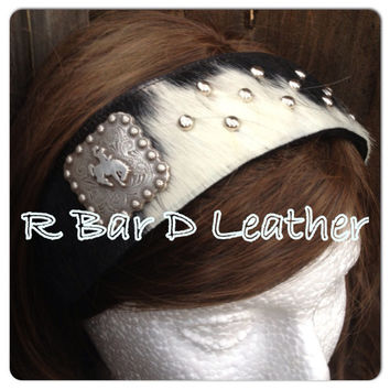 Handmade leather headbands with square bronc rider concho and metal accents