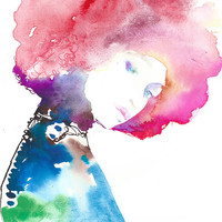 Archival Prints of Watercolor Painting, fashion Illustration - Titled: Modelink pink