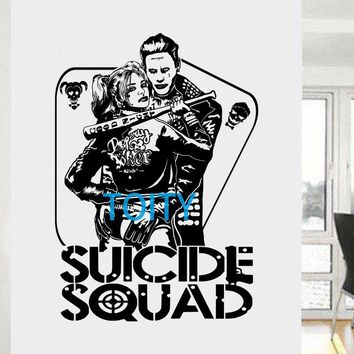 Harley Quinn and Joker Wall Sticker DC Comics Suicide Squad Vinyl Decal Task Force X Movie Poster Mural H82cm x W58cm