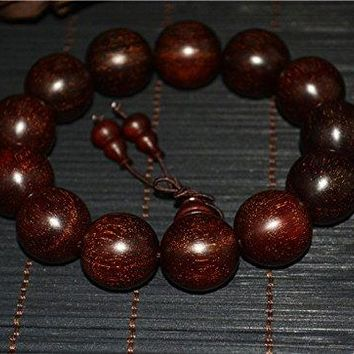 natural genuine india zitan red sandalwood bracelet rosewood wooden prayer beads mala wood worry rosary ox hair buddhism wild Authentic Real Buddhist misbaha tasbih komboloi islamic 18MM
