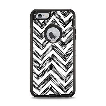 The Sketch Black Chevron Apple iPhone 6 Plus Otterbox Defender Case Skin Set