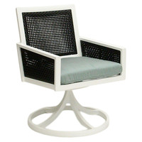 Woven Swivel Dining Chair, Spa Blue, Outdoor Dining Chairs