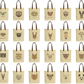 Badger Portrait-1 Beige Printed Canvas Tote Bags Leather Handles WAS_30