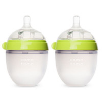 Comotomo Silicone 5 Ounce Baby Bottle 2 Pack - Green