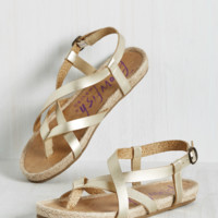 Everyday Nonchalance Sandal in Gold and Jute | Mod Retro Vintage Sandals | ModCloth.com