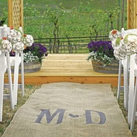 Personalized Burlap Aisle Runner with Vineyard Monogram