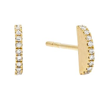 Diamond Semi-Circle Stud Earring 14K