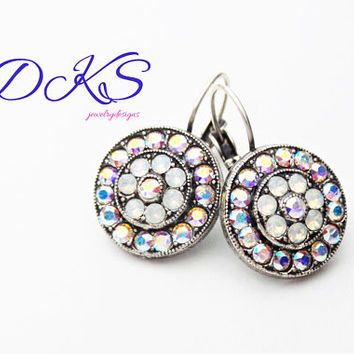 Swarovski Flower Earrings, Lever Backs, AB,White Opal, Antique Silver, Crystal, DKSJewelrydesigns,FREE SHIPPING