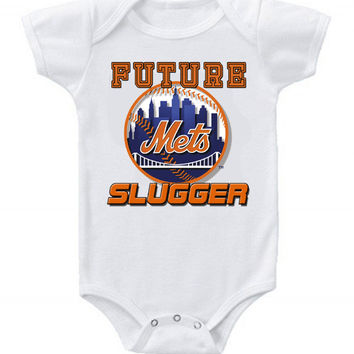 New Cute Funny Baby One Piece Bodysuit Baseball Future Slugger MLB New York Mets #3