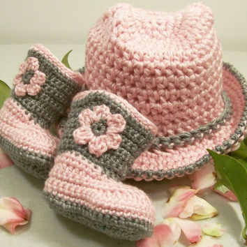 Cowgirl Hat and Boots -Baby Girl Cowboy Gift Set-Pink and Grey-Baby Shower Gift-#207