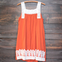 a little rusty boho dress in rust
