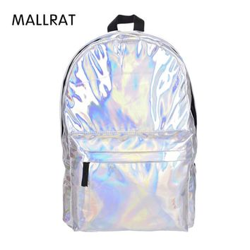 MALLRAT Leather Backpack Women Hologram Laptop Backpack For School Student Women's Laser Silver Color Holographic Bag backpacks