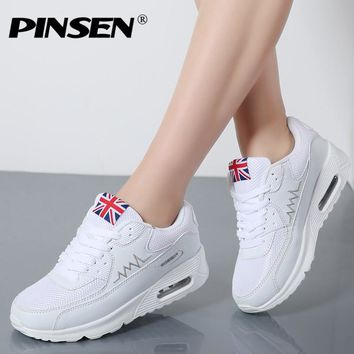PINSEN Fashion Trainers Shoes Woman Summer Breathable Mesh Female Casual Sneakers Flats Platform Shoes krasovki Chaussure Femme