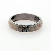 Men Titanium and Antler Wedding Band - Titanium Ring Antler Ring mens wedding band