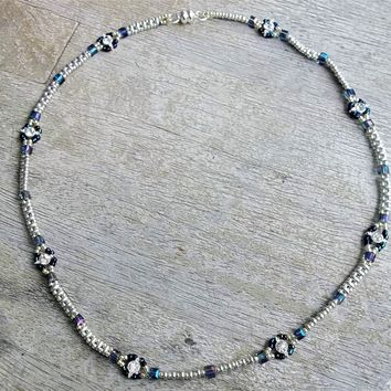 """Plus Size Elegance Beadwoven  Silver Superduo , Square Swarovski Crystal, and Silver Plated CZ Focal Beads 21"""" Choker Necklace with Magnetic Clasp"""