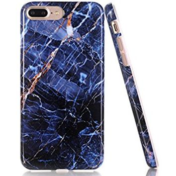 iPhone 7 Plus Case, Navy Blue Marble Creative Design, BAISRKE Slim Flexible Soft Silicone Bumper Shockproof Gel TPU Rubber Glossy Skin Cover Case for iPhone 7 Plus & iPhone 8 Plus