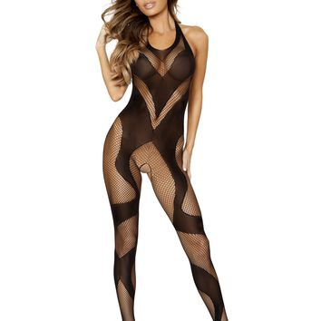 Swirly Crotchless Bodystocking