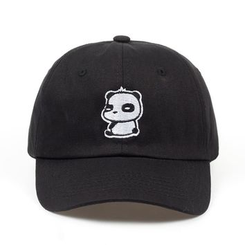 Casual Panda Black Embroidered Cotton Dad Hat
