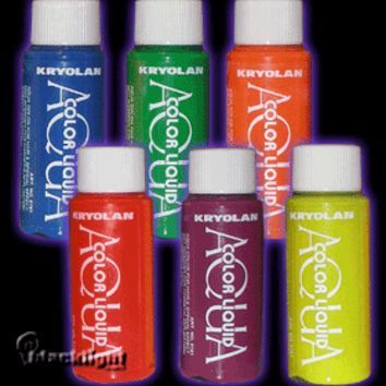 K5161 - Kryolan UV Reactive Aquacolor Liquid - Temporary Hair Dye - 1 oz