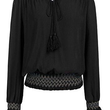 Zeagoo Women Chiffon Off Shoulder Tassel Vintage Peasant Blouses Tops Long Sleeve Shirt