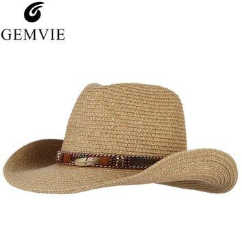 GEMVIE Vintage Western Cowboy Hat For Men Summer Straw Hats Alloy Feather  Cowgirl Jazz Cap Wide a1239cfa62c7
