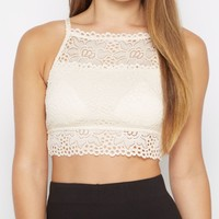 Ivory Lace High Neck Bralette | Bandeaus & Bralettes | rue21