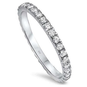 Round Cz Eternity Style Band .925 Sterling Silver Ring