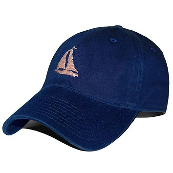 Heathered Sailboat Needlepoint Hat in Navy by Smathers & Branson