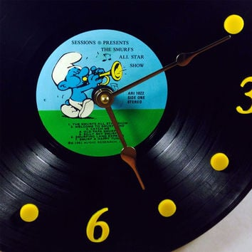 """Vinyl Record Clock, Wall Clock, Smurfs Record, Recycled Music Record, 12"""" Record, Battery & Wall Hanger included, Item #14"""