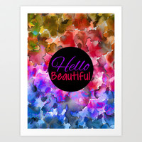 HELLO BEAUTIFUL Coloful Fine Art Typography Inspirational Abstract Watercolor Painting Ombre Rainbow Art Print by EbiEmporium
