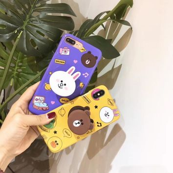 Korean cartoon cute bear Kani rabbit bracket glossy couple soft cover case for iphone 6 7 7plus 8 8plus X XR XS MAX phone case